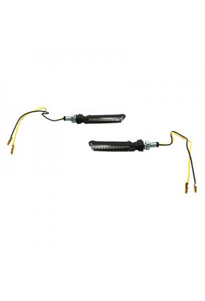 CLIGNOTANT MOTO A LEDS AVOC FUJI SEQUENTIELLE TRANSPARENT/NOIR 12 LEDS (PAIRE) (HOMOLOGUE E)