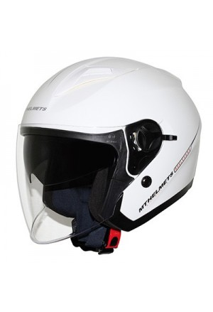 CASQUE JET MT BOULEVARD SV DOUBLE ECRANS BLANC BRILLANT XL