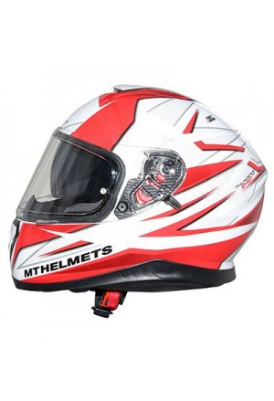CASQUE INTEGRAL MT THUNDER 3 SV EFFECT BRILLANT BLANC PERLE ROUGE XXL DOUBLE ECRANS PINLOCK READY