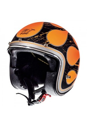 CASQUE JET MT LE MANS SV FLAMING NOIR MAT ORANGE M