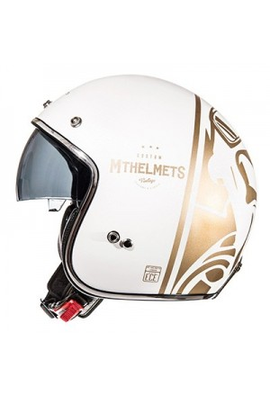 CASQUE JET MT LE MANS SV DIVENIRE BLANC PERLE BRILLANT OR XL