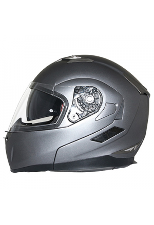 CASQUE INTEGRAL MODULABLE MT FLUX DOUBLE ECRANS GRIS TITANIUM MAT S