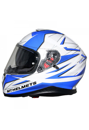 CASQUE INTEGRAL MT THUNDER 3 SV EFFECT BRILLANT BLANC PERLE/BLEU M (DOUBLE ECRANS PINLOCK READY)