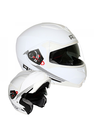 CASQUE MODULABLE ADX M2 DOUBLE ECRAN DECO BLANC BRILLANT XL