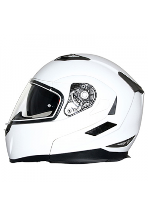 CASQUE INTEGRAL MODULABLE MT FLUX DOUBLE ECRANS BLANC BRILLANT L