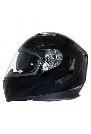 CASQUE INTEGRAL MODULABLE MT FLUX DOUBLE ECRANS NOIR BRILLANT XXL