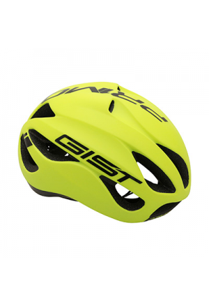 CASQUE VELO ADULTE GIST ROUTE PRIMO JAUNE FLUO/NOIR FULL IN-MOLD TAILLE 56-62 REGLAGE MOLETTE 250GRS