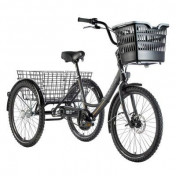 "TRICYCLE LEADER FOX BORMIO 24"" HOMME/FEMME ALU 3 VITESSES NOIR MATT/OR"