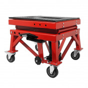MOTORCYCLE LIFT STAND P2R - HYDRAULIC CYLINDER - ON WHEELS - HEIGHT Mini 100mm Max 380mm RED STEEL