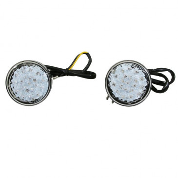 TURN SIGNAL UNIVERSAL FOR MOTORBIKE (LEDS) AVOC MINO CLEAR LENS/BLACK BODY (CE APPROVED) (PAIR)