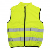 REFLECTIVE SAFETY VEST- YELLOW-PREMIUM QUALITY-LONG ZIPPER-ZIPPED BACK POCKET