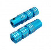 FOOTREST FOR MOPED REPLAY (FOR PILOT) - ROUND PROFILE - BLUE KNURLED ALUMINIUM- FOR PEUGEOT 103/MBK 51 (PAIR)