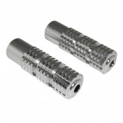 FOOTREST FOR MOPED REPLAY (FOR PILOT) - ROUND PROFILE - CHROME KNURLED ALUMINIUM FOR PEUGEOT 103/MBK 51 (PAIR)