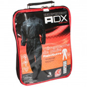 RAIN SUIT - ONE PIECE - ADX BLACK XS (ADJUSTABLE WAIST+GUSSET WITH ZIP AND PRESS STUD FOR LOWER LEG SECTION + CARRYING BAG)