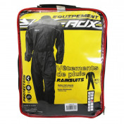 RAIN SUIT - ONE PIECE - ADX BLACK XL (ADJUSTABLE WAIST+GUSSET WITH ZIP AND PRESS STUD FOR LOWER LEG SECTION + CARRYING BAG)