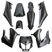 FAIRINGS/BODY PARTS FOR 50cc MOTORBIKE DERBI 50 SENDA 1994>2010 BLACK GLOSS (8 PARTS KIT) SELECTION P2R-