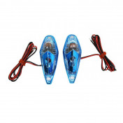 """DECORATIVE LIGHTNING REPLAY """"WATER DROP"""" WING TRANSPARENT/BLUE - WITH ORANGE BULB(L 62mm / H 23mm / W 18mm) (PAIR) **"""