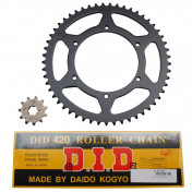CHAIN AND SPROCKET KIT FOR DERBI 50 GPR 2006>/APRILIA 50 RS 2006->, RS4 2012> 420 11x53 (BORE Ø 108mm) (OEM SPECIFICATION) -DID-