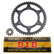 CHAIN AND SPROCKET KIT FOR DERBI 50 SENDA SM DRD RACING 2011>, X-TREM 2011>/GILERA 50 SMT 2011> 420 11x53 (BORE Ø 108mm) (MONOBLOC WHEELS - OEM SPECIFICATION) -DID-