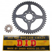 CHAIN AND SPROCKET KIT FOR MBK 50 X-LIMIT 1997>2001/YAMAHA 50 DTR 1997>2001 420 12x52 (BORE Ø 44mm) (OEM SPECIFICATION) -DID