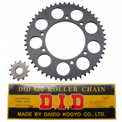 CHAIN AND SPROCKET KIT FOR PEUGEOT 50 XPS TRAIL 2004> 420 12x52 (BORE Ø 108mm) -SPOKED WHEELS- (OEM SPECIFICATION) -DID