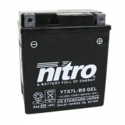 BATTERY 12V 6 Ah YTX7L-BS NITRO MAINTENANCE FREE DELIVERED WITH ACID PACK (Lg114xL70xH130)