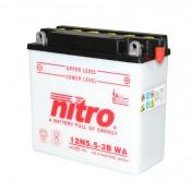 BATTERY 12V 5,5 Ah 12N5.5-3B NITRO WITH MAINTENANCE-WITH ACID PACK (Lg138xL61xH131)