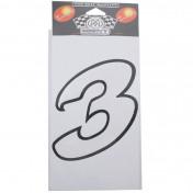 AUTOCOLLANT/STICKER MERYT LARGE NUMERO 3 BLANC (H16cm)