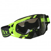 MASQUE/LUNETTES CROSS MT MX EVO JAUNE FLUO (ECRAN TRANSPARENT ANTI-BUEE + FIXATION TEAR OFF)