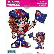 AUTOCOLLANT/STICKER LETHAL THREAT AUSTRALIA GIRL (15x20cm) (LT88414)