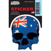 AUTOCOLLANT/STICKER LETHAL THREAT MINI TETE DE MORT DRAPEAU AUSTRALIE (6 x 8cm)
