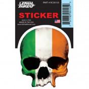 AUTOCOLLANT/STICKER LETHAL THREAT MINI TETE DE MORT DRAPEAU IRLANDE (6 x 8cm)