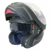 HELMET-FLIP-UP MT ATOM SV (DOUBLE VISORS) SINGLE BLACK MATT XL