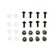 FAIRING KIT FASTENER - REPLAY - ALUMINIUM CROWNED SCREW M5X16 - BLACK + PLASTIC WASHERS + RUBBER CAPS (x8)