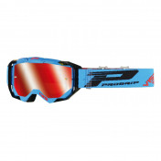 MOTOCROSS GOGGLES PROGRIP 3303 FL VISTA BLUE/BLACK- MULTILAYERED MIRRORED LENS- NO FOG/ ANTI-SCRATCH/ANTI U.V. (APPROVED CE-EN-N° AC-96025 REV.2) SUPPLIED WITH A FREE TRANSPARENT 3310 VISOR