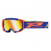 MOTOCROSS GOGGLES PROGRIP 3303 FL VISTA BLUE/ORANGE FLUO - MULTILAYERED MIRRORED LENS- NO FOG/ ANTI-SCRATCH/ANTI U.V. (APPROVED CE-EN-N° AC-96025 REV.2) SUPPLIED WITH A FREE TRANSPARENT 3310 VISOR