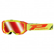 MOTOCROSS GOGGLES PROGRIP 3303 FL VISTA YELOW FLUO/RED - MULTILAYERED MIRRORED LENS- NO FOG/ ANTI-SCRATCH/ANTI U.V. (APPROVED CE-EN-N° AC-96025 REV.2) SUPPLIED WITH A FREE TRANSPARENT 3310 VISOR