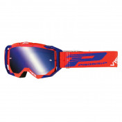 MOTOCROSS GOGGLES PROGRIP 3303 FL VISTA RED/BLUE - MULTILAYERED MIRRORED LENS- NO FOG/ ANTI-SCRATCH/ANTI U.V. (APPROVED CE-EN-N° AC-96025 REV.2) SUPPLIED WITH A FREE TRANSPARENT 3310 VISOR