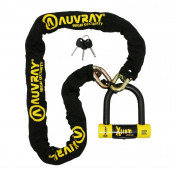 MOTORCYCLE ANTITHEFT- CHAIN LOCK AUVRAY XTREM 1.40 M - Ø 13.5 mm + U LOCK XTREM MEDIUM (FULL SRA APPROVED)