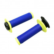 GRIP- PROGRIP OFF ROAD 708 TRIPLE DENSITY ELECTRIC BLUE/YELLOW FLUO 115mm ( LOCK ON) (SUPPLIED WITH 5 DIFFERENT THROTTLE CAMS) (PAIR) (CROSS/MX)