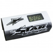 BAR PAD - MOTO CROSS STAR BAR BOOSTER CHRONO WHITE- WITH INTEGRATED TIMER.