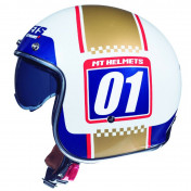 CASQUE JET MT LE MANS 2 SV NUMBERPLATE BLANC/OR NACRE BRILLANT L