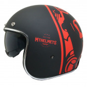 HELMET-OPEN FACE MT LE MANS 2 SV DIVENIRE BLACK/RED XXL