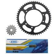 CHAIN AND SPROCKET KIT FOR DERBI 50 SENDA 2000>2001 420 15X53 (BORE Ø 105mm) -SELECTION P2R-
