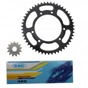 CHAIN AND SPROCKET KIT FOR MBK 50 X-LIMIT 2002/YAMAHA 50 DTR 2002 420 13x50 (BORE Ø 105mm) -SELECTION P2R-