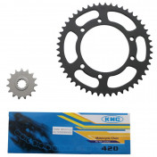 CHAIN AND SPROCKET KIT FOR MBK 50 X-LIMIT/YAMAHA 50 DTR 2004> 420 15x50 (BORE Ø 105mm) -SELECTION P2R-