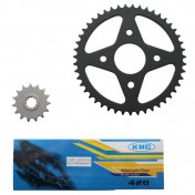 CHAIN AND SPROCKET KIT FOR MBK 50 X-POWER 2000>/YAMAHA 50 TZR 2000> 420 15x47 (BORE Ø 54mm) -SELECTION P2R-