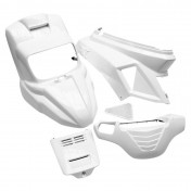 CARROSSERIE SCOOT REPLAY DESIGN POUR MBK 50 BOOSTER 2004>/YAMAHA 50 BWS 2004> BLANC BRILLANT (KIT 7 PIECES)