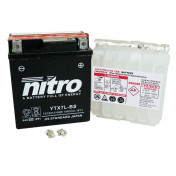 BATTERY 12V 6 Ah YTX7LBS NITRO - MAINTENANCE FREE SUPPLIED WITH ACID PACK (Lg114xW71xH131)
