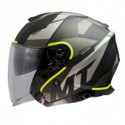 HELMET-OPEN FACE MT THUNDER 3 SV (DOUBLE VISORS) BOW - MATT GREY/FLUO YELLOW XS